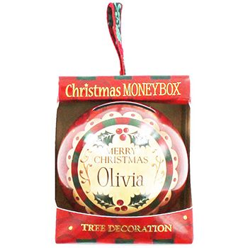Personalised Money Box Bauble - Olivia   Money Boxes at The Works