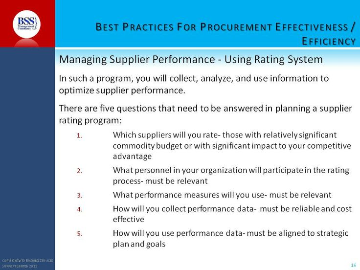More tools for effective procurement