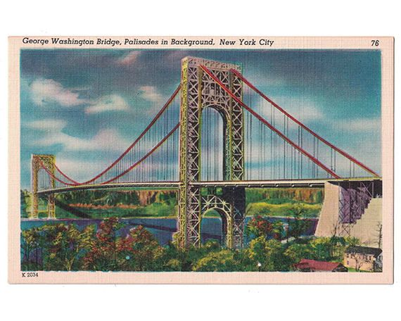 "This vintage linen postcard, circa 1940s, features the George Washington Bridge, also known as the GW Bridge, which spans the Hudson River between New York City and Fort Lee, New Jersey. The back of the postcard reads, ""Spanning the Hudson River at 179th Street, the George Washington Bridge connects the States of New York and New Jersey. It is the longest suspension bridge in the world and cost $60,000,000. It was completed in 1931."""