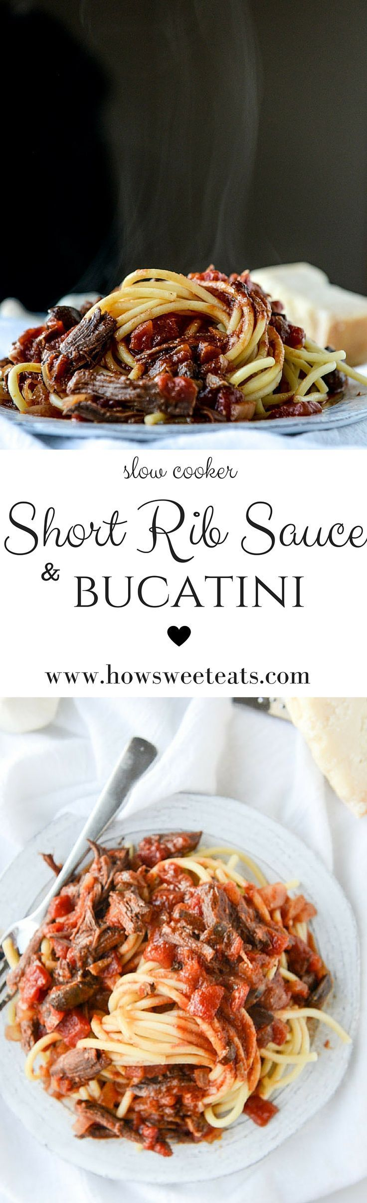 slow cooker short rib sauce with bucatini I http://howsweeteats.com