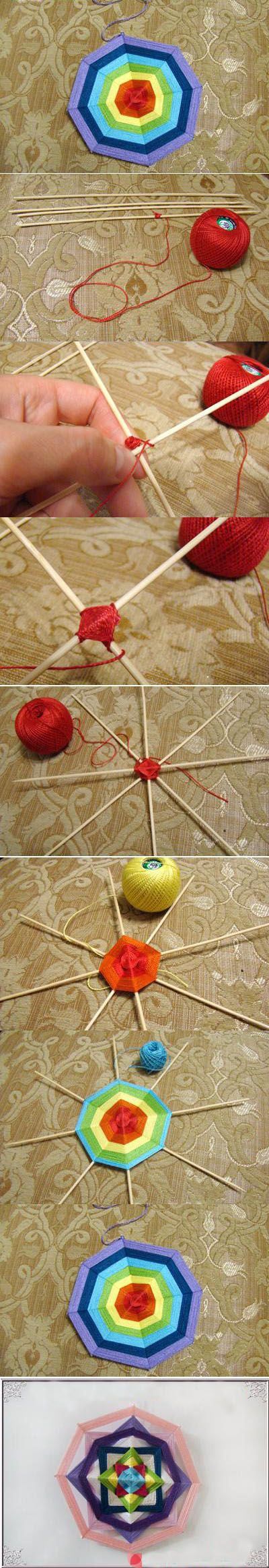 Want to do this, but paint the sticks black & use black yarn or white and use white yarn to make spider webs for Halloween. :)