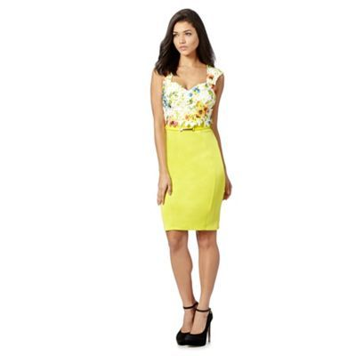 Lipsy Yellow floral lace belted scuba dress- at Debenhams.com