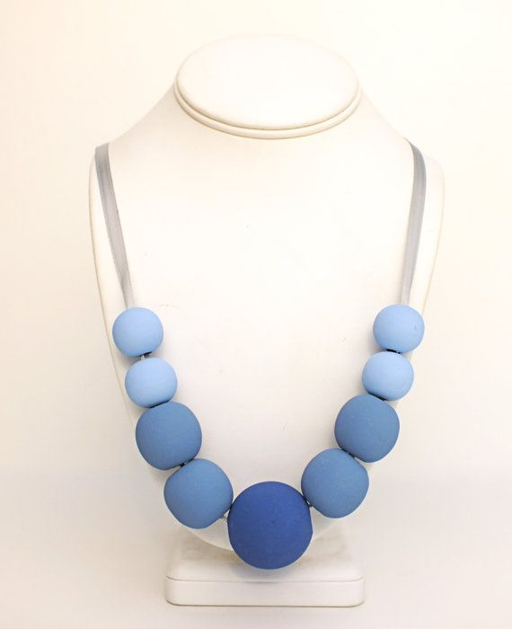 Ombre Wooden Bead Necklace - Blue Suede Wood Necklace on Etsy, $25.81 AUD