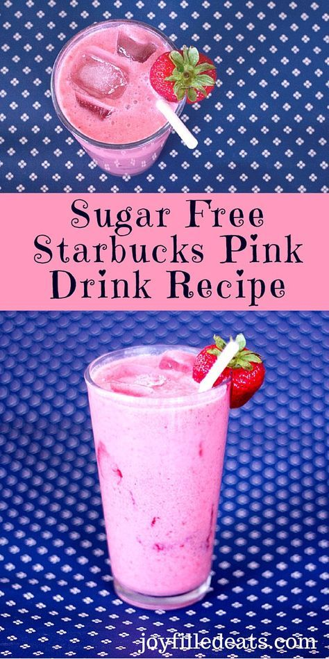 "Sugar Free Starbucks Pink Drink Recipe - I've been drooling over photos of the Starbuck's secret menu strawberry coconut ""Pink Drink."" So I made my own low carb, sugar free, THM version."