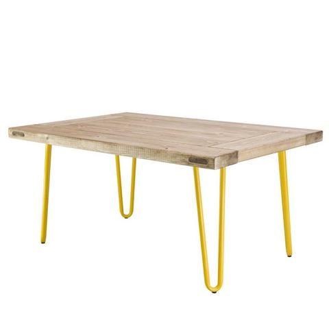 Booba Yellow and Wood Coffee Table