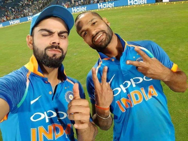 Winning selfie for Virat Kohli & Shikhar Dhawan #INDvNZ #2ndODI - http://ift.tt/1ZZ3e4d