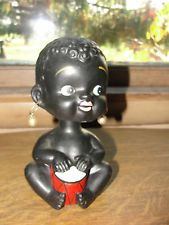 Black Americana baby bobble head bank, old, baby girl with drum and earrings