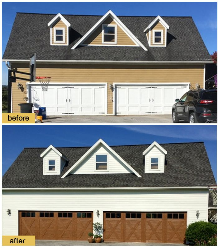 Garage Makeover Inspired By Farmhouse Style New Clopay Canyon Ridge Carriage House Faux Woo In 2020 Garage Door Design Contemporary Garage Doors Faux Wood Garage Door