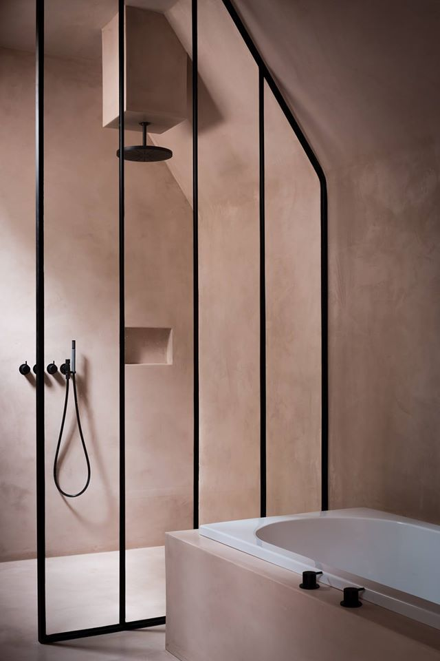 soft pink bathroom and black fittings... follow www.homeanddelicious.com also on instagram or facebook...