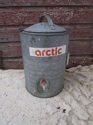 Vintage 1950s galvanized metal Metal lined Arctic water Cooler with spigot Lid