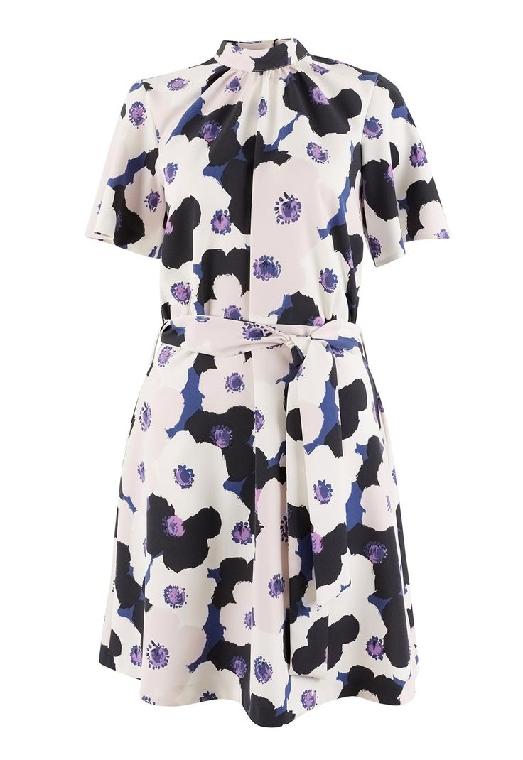 Bright and bold, this 60's style floral mini dress in matte crepe fabric is the perfect piece for Spring/Summer 17! Inspired by Andy Warhol's iconic art style, this daisy print dress features an adjustable tie belt, high neckline and short sleeves. With a chic A-line silhouette, this piece is flattering for every figure and shape.  Matte crepe fabric High neck with gathered detail Andy Warhol Inspired daisy print Short sleeves Tie belt A-line silhouette Unlined Side pockets Rear zip and bu