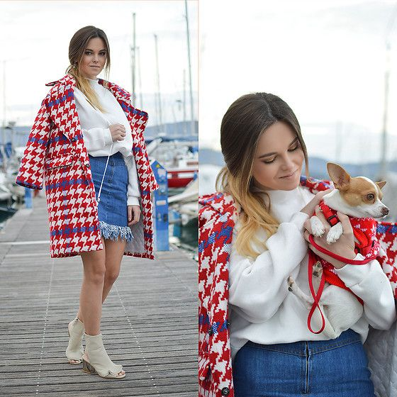 Get this look: http://lb.nu/look/8619321  More looks by Tamara Bellis: http://lb.nu/tamarabellis  Items in this look:  Sammydress Coat, Yesstyle Sweatershirt, Zaful Denim Skirt, Ego Ruffled Open Toe Booties   #chic #classic #romantic