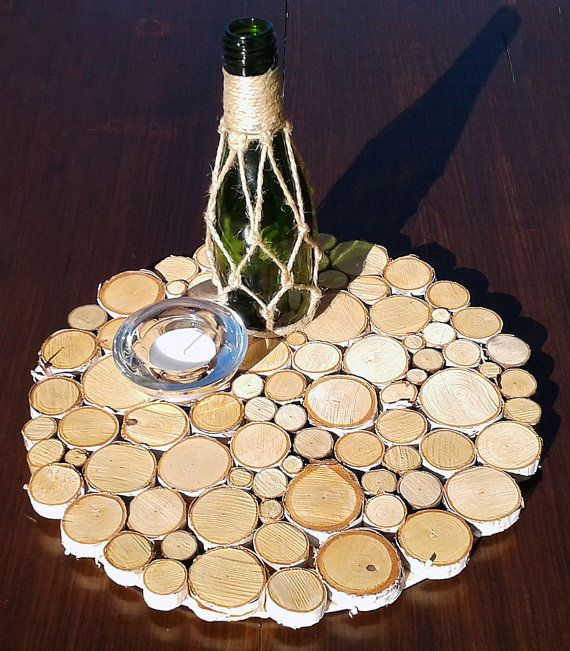 White Birch Wood Slice Wall Art, Rustic Table Centerpiece
