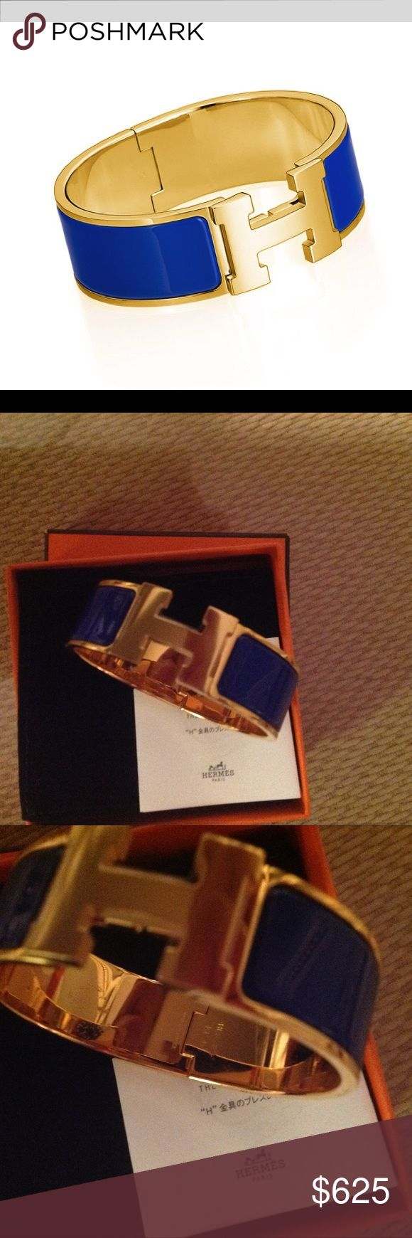 """💯Auth. Hermes Clic Clac Excellent condition. Still has protective plastic and looks new. No scratches. Royal blue with gold hardware. Comes with Dustbag. GM 1"""". Hermes Jewelry Bracelets"""