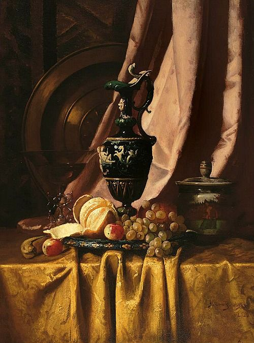 Milne Ramsey Still Life with Ewer and Fruit 1872