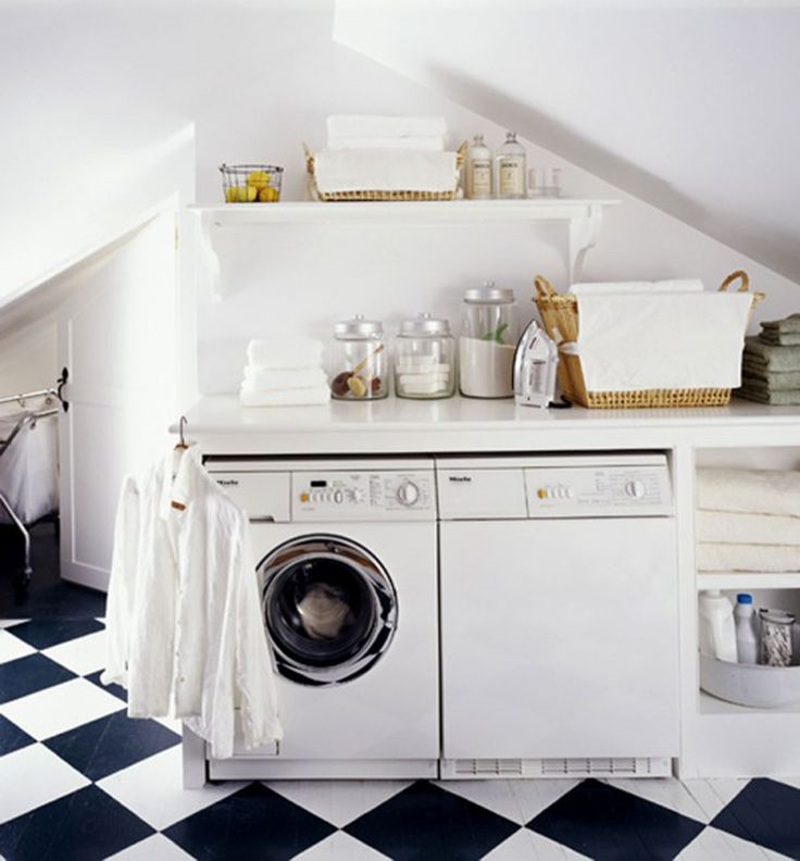 Laundry Room White Theme Of Small Aundry Ideas Design With Checkered Floor Style