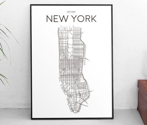 Downloadbare Art Print afdrukbare Poster stad kaart New York Manhattan minimalistische zwart-wit Scandinavisch Design Artwork typografische Gift