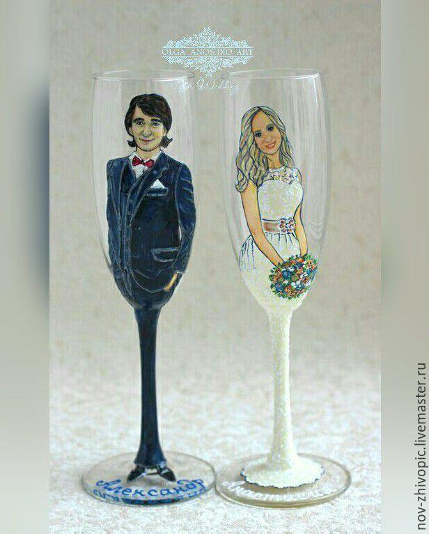 """Купить Свадебные бокалы """"Жених и Невеста"""". Роспись. Рисунок по фотографии. - свадебный подарок, свадебные аксессуары"""