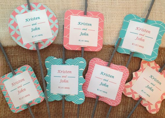 Set of 50 Sparkler Tags Aqua & Coral by PerfectlyMatched on Etsy, $35.00