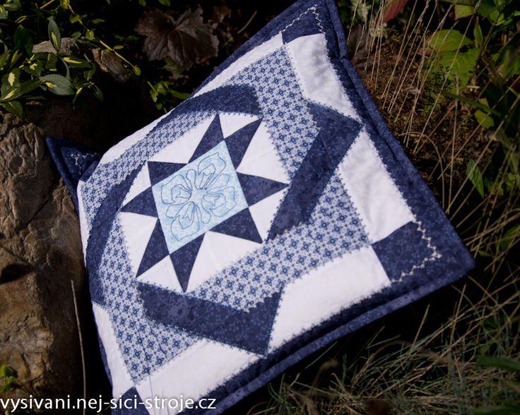Patchworkový polštář s prošíváním bavlnkou