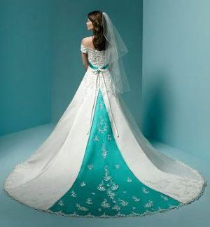 Turquoise Wedding Dresses | wedding dress that is white with turquoise pattern on it. This dress ...