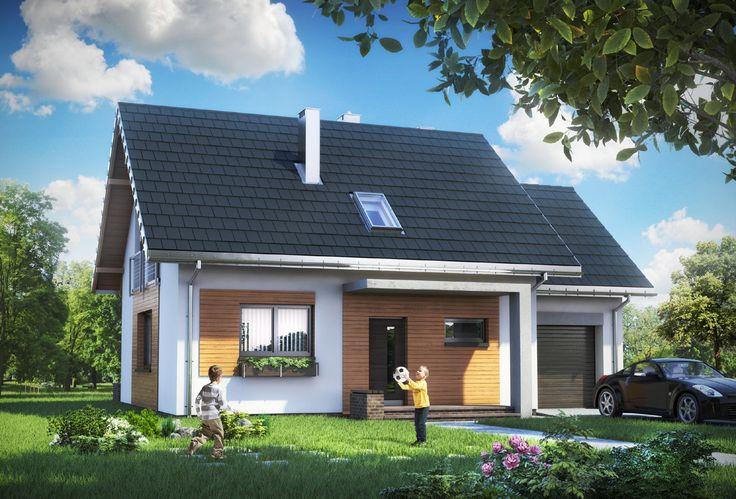 Projekt domu Czaruś ma prostą sylwetkę z dobudowanym garażem i z dodatkową przestrzenią mieszkalną na jego poddaszu. Przy dwuspadowym, nieskomplikowanym dachu bez lukarn i przy braku balkonów, taki układ gwarantuje ekonomiczną budowę i energooszczędne użytkowanie mieszkania.
