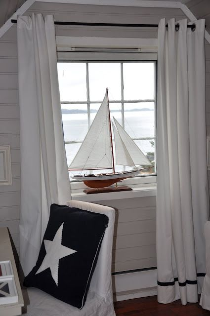 Make your own curtains using Sunbrella Shadow Snow 51000-0000. Perfect for a living space or a nautically themed room.