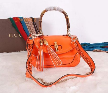 Gucci New Bamboo Leather Top Handle Bag Orange