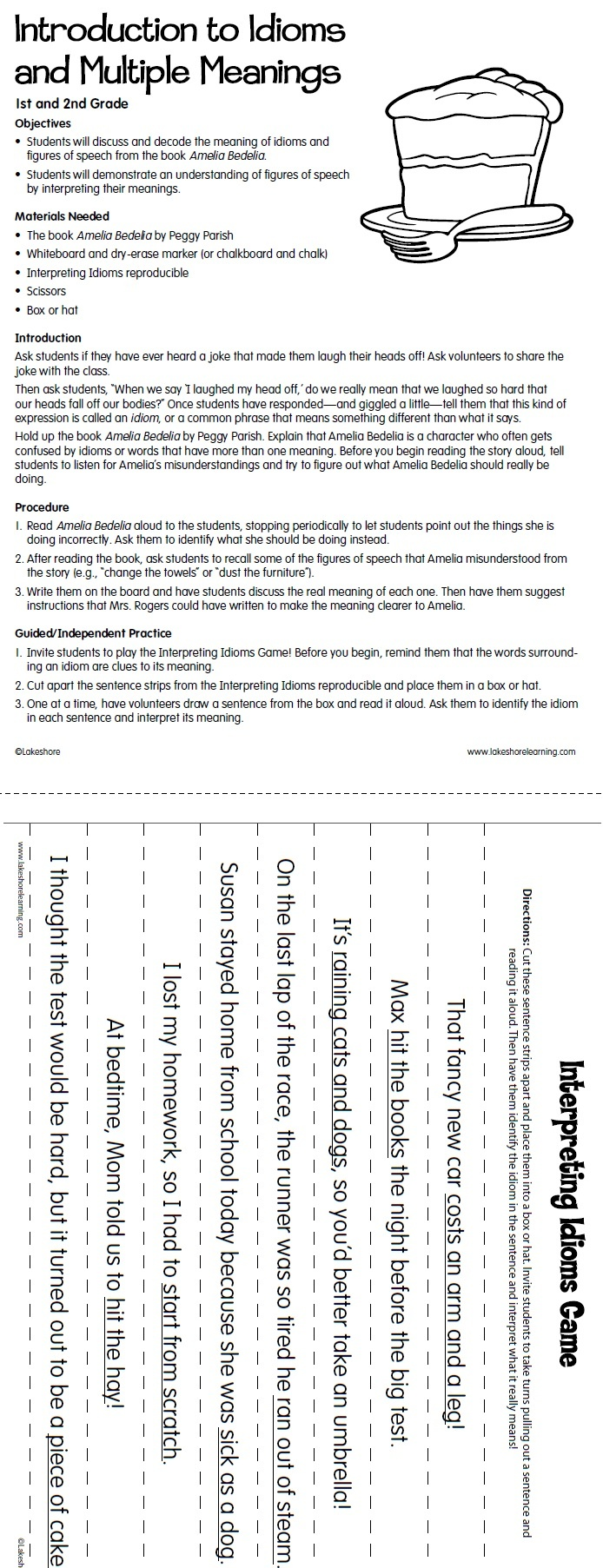 Introduction to Idioms Lesson Plan from Lakeshore Learning