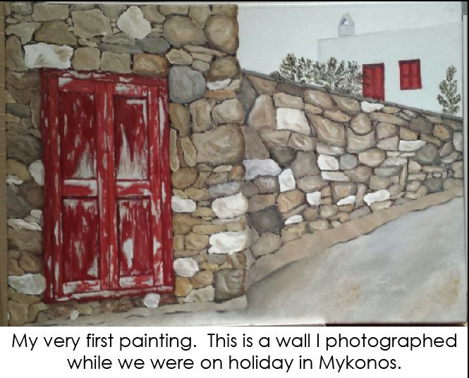 An oil painting of a wall at the seaside of Mykonos, Greece. I loved the red door in contrast to the neutral coloured wall.
