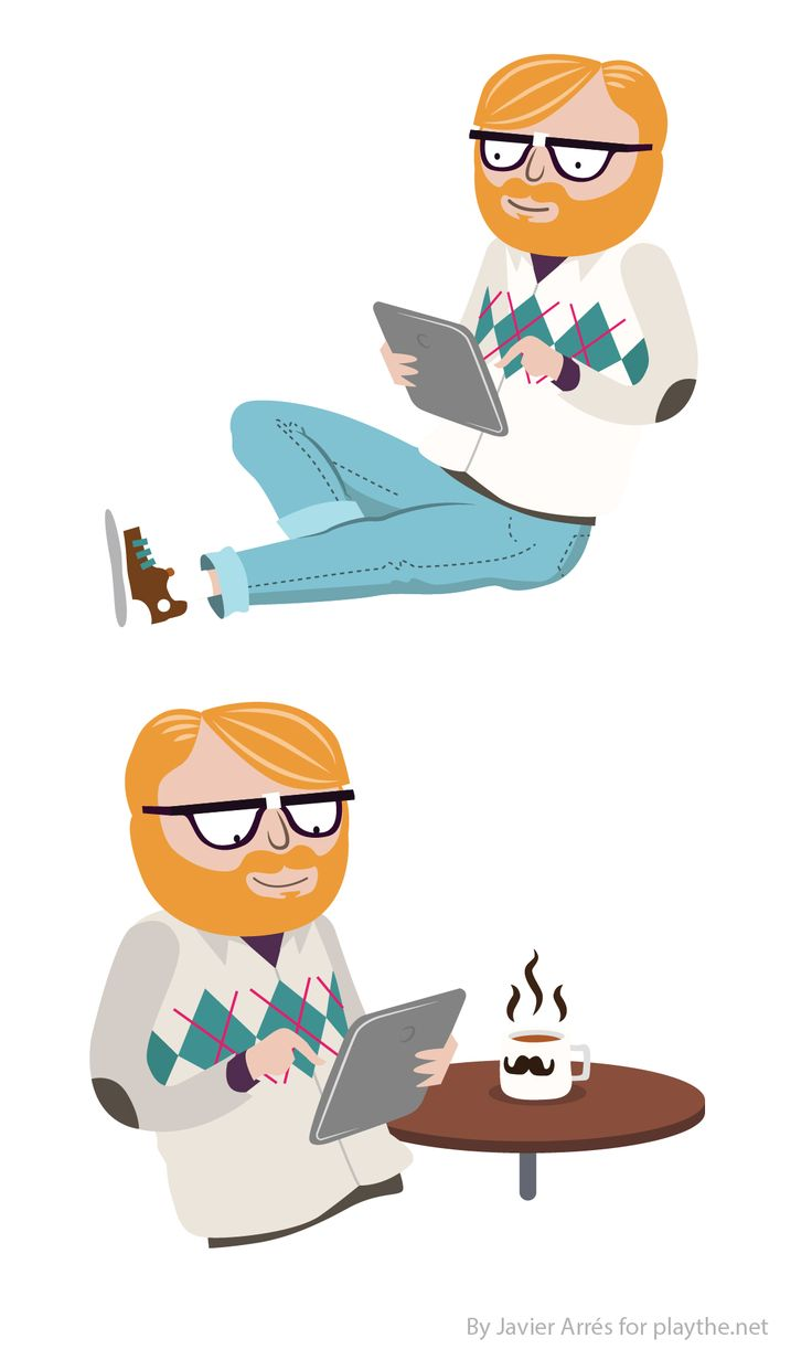 Javier Arrés: hipster character illustration. For a corporative letter (playthe.net)