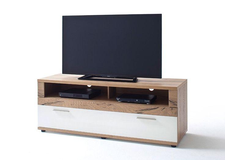 Lowboard Nizza TV-Element Crackeiche furniert mit Weiß Matt Lack 20621. Buy now at https://www.moebel-wohnbar.de/lowboard-nizza-crackeiche-mit-weiss-matt-20621