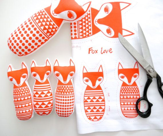 Screen Printed Scandinavian Toy Kit To Make 4 Toy Foxes  - Mum and 3 fox cubs by Jane Foster