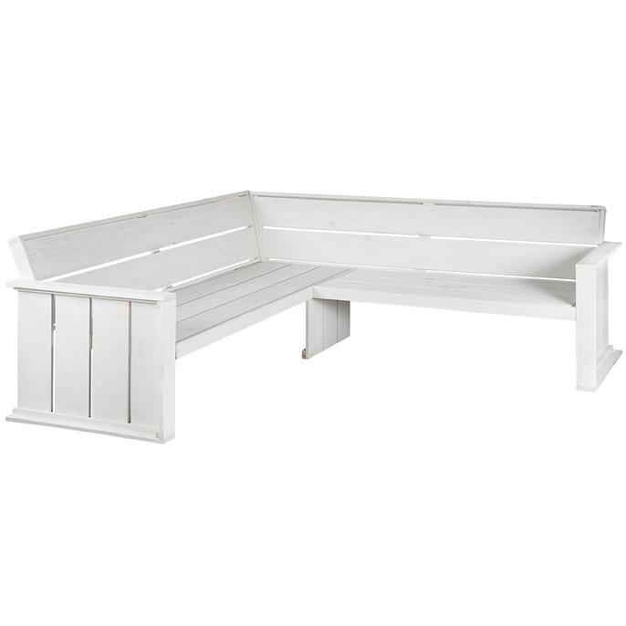 Leuk voor in de tuin, hoekbank uit de Ostuni serie. Afmeting: 218 x 218 cm. Kleur: wit. Exclusief kussens.