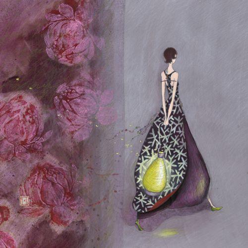 """Gaëlle Boissonnard square card (14 cm) """"Le lampion vert"""""""