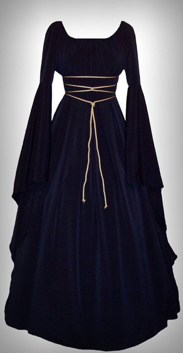 Holiday Sale - Medieval/Renaissance Black Satin Trumpet Sleeve Costume Gown, Custom made to order.