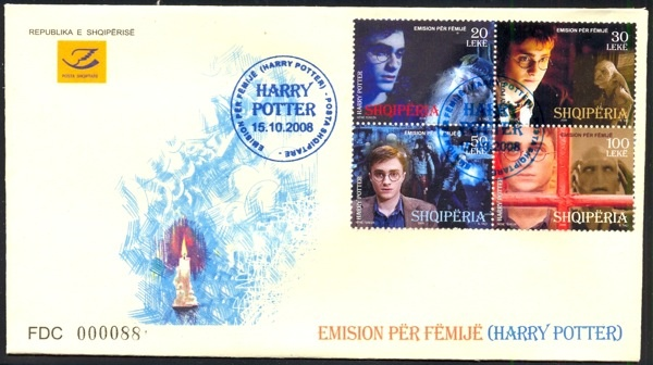 Harry Potter on block of 4. Potter is played by Daniel Radcliffe whose mother is Jewish - Marcia Jeannine Gresham (neé Jacobson). Note: Albania FDC are sometimes produced in the hundreds and hard to come by