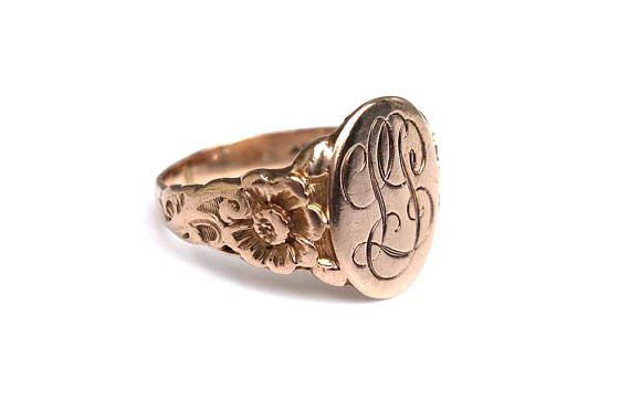 Antique 10k Gold Signet Ring Initial Monogram Ring Initials Lp Monogram Ring Gold Signet Ring Signet Ring