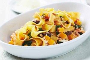 Pappardelle with pumpkin, spinach and napoletana sauce