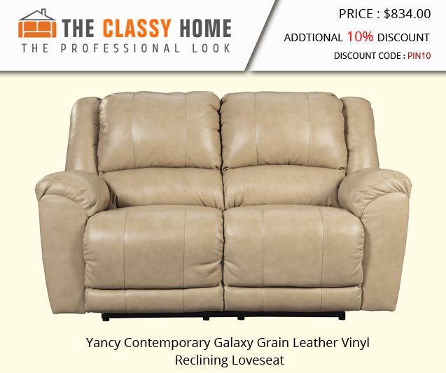 Yancy Contemporary Galaxy Grain Leather Vinyl Reclining Loveseat