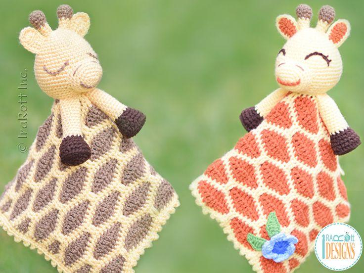 Crochet pattern PDF by IraRott for making an adorable giraffe security blanket