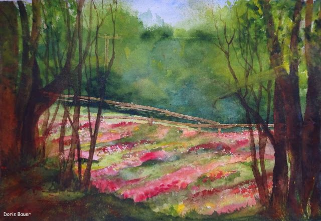 Mohnblumenfeld Landschaftsbau Landschaft Aquarell