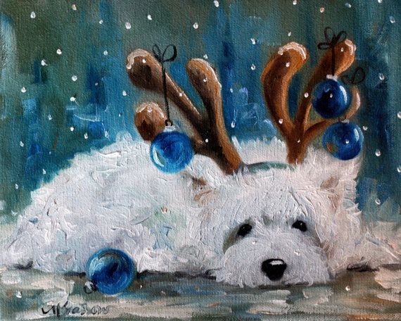 PRINT Westie West Highland Terrier Dog Art Oil Painting Blue Christmas Ornaments Artist Mary Sparrow Holiday Gift