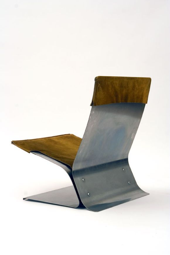 Pierre Folie; Stainless Steel and Suede Lounge Chair for Jacques Charpentier, 1963.