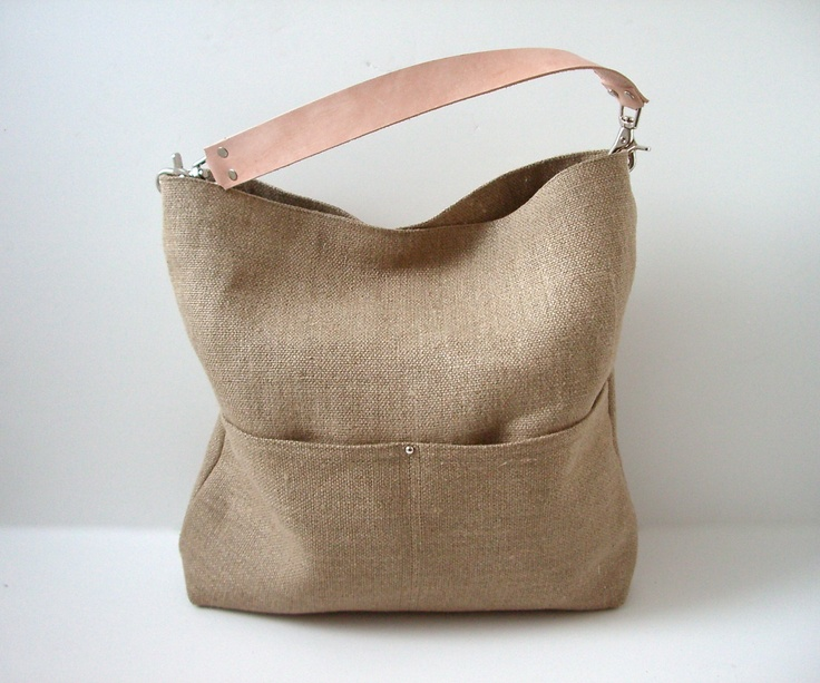 Bucket Tote, Hobo Tote, Linen Tote Bag, Natural, Beach Bag, Day Bag, Resort Tote, Summer Tote Bag, Jute Linen and Leather Bag for Women. $138.00, via Etsy.