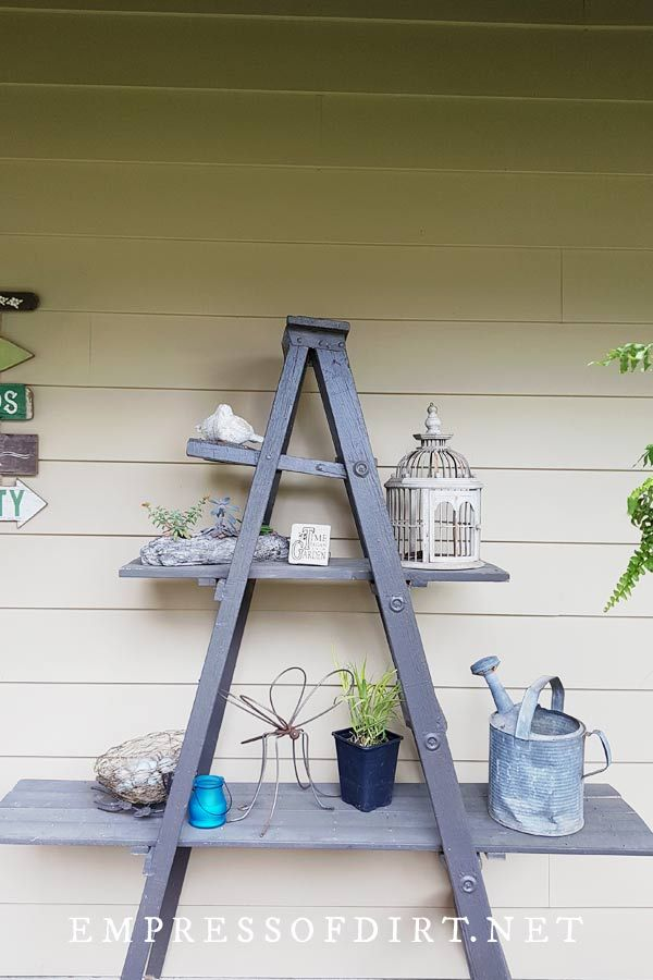 12 Creative And Rustic Garden Art Ladder Ideas Garden Ladder Garden Shelves Patio Garden Design