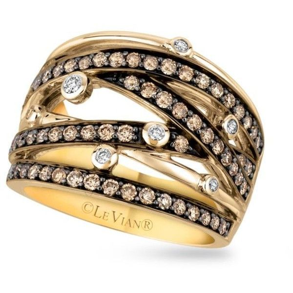 Le Vian  Le Vian Chocolatier Vanilla And Chocolate Diamonds Ring In... (8.205 BRL) ❤ liked on Polyvore featuring jewelry, rings, chocolate, yellow gold chocolate diamond ring, chocolate brown diamond rings, chocolate rings, 14 karat ring and gold rings