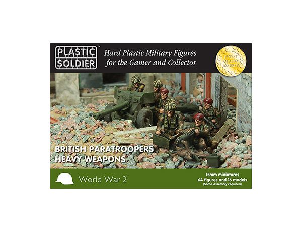 The Plastic Soldier Company 15mm British Paratrooper heavy weapons 1944-45 from the plastic model kits range provides a selection of highly detailed miniatures that accurately recreate the real life British Soldiers from World War II. Contains 64 figures and 16 models.