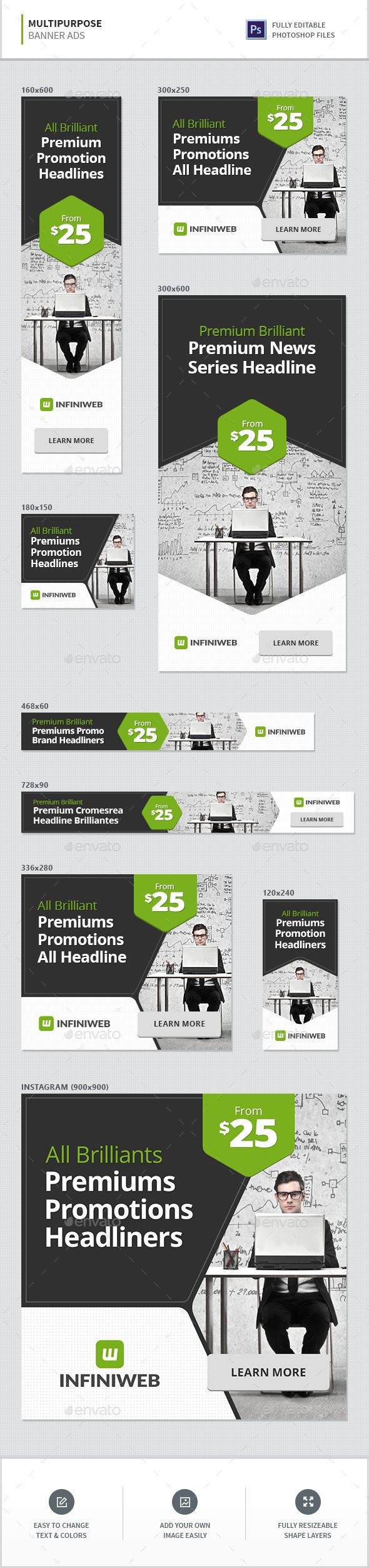 Multipurpose Banners — Photoshop PSD #green #multipurpose • Available here → graphicriver.net/…