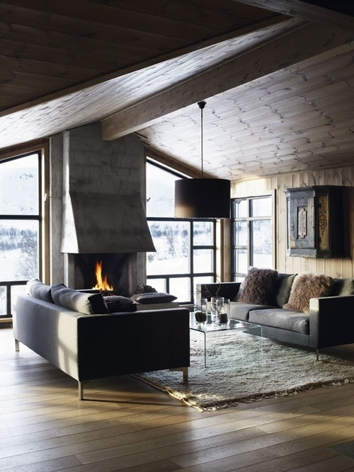Wood and concrete sitting room.
